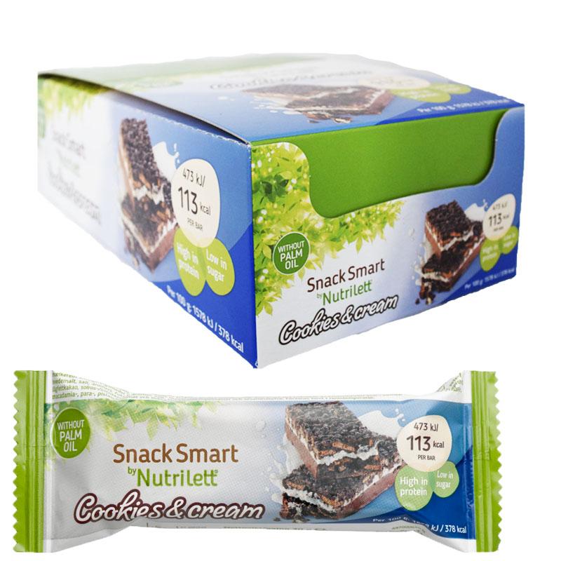 """Laatikollinen välipalapatukoita """"Cookies & Cream"""" 18 x 30 g - 50% alennus"""