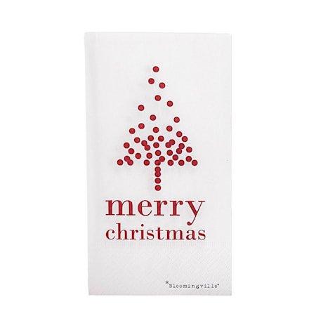 Julservietter Merry Christmas Hvit 16-pakning