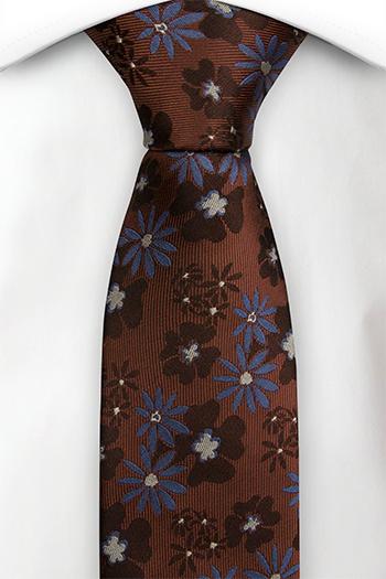 Silke Smale Slips, Rustrød med blå blomster, Rød, Blomstrete