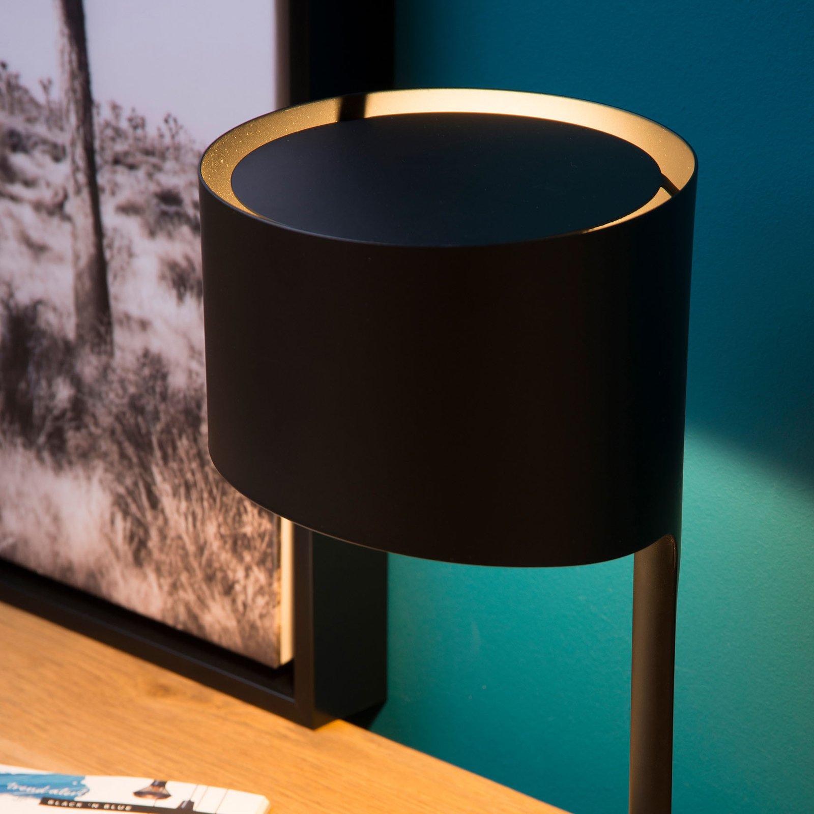Knulle bordlampe av metall, svart