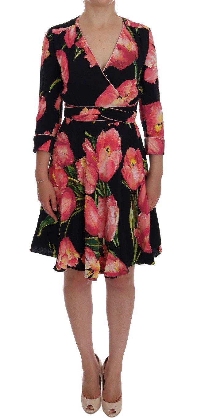 Dolce & Gabbana Women's Tulip Print Stretch Shift Dress Multicolor DR1025 - IT38|XS