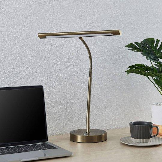 Lindby Nikali LED-skrivebordslampe, antikk messing