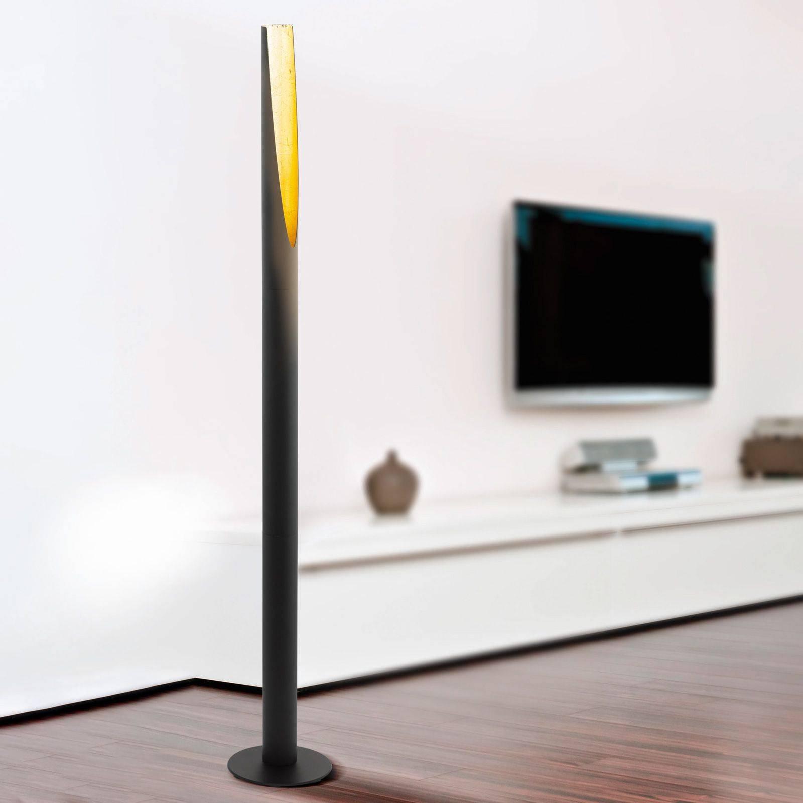 LED-gulvlampe Barbotto i svart, gull.
