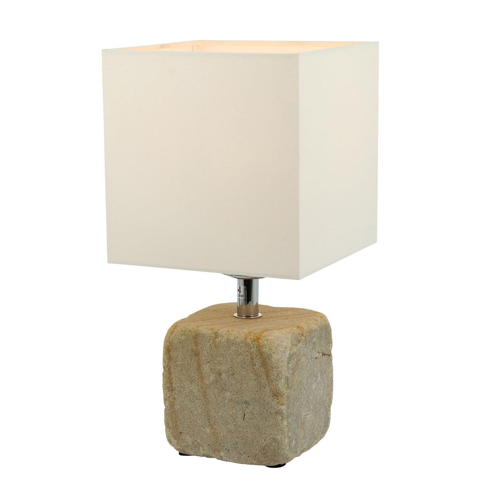 Bordlampe Sandy av sandstein med tekstilskjerm