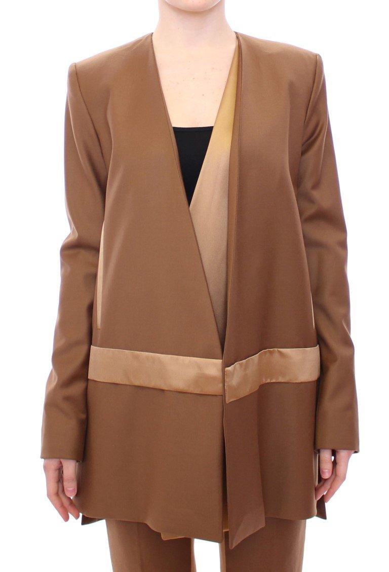 Brown Wool Silk Blazer Coat Jacket - IT40|S