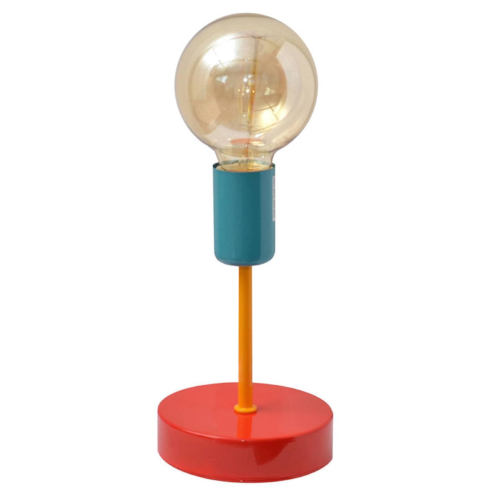 Fargerik bordlampe Oxford, rød/oransje/turkis