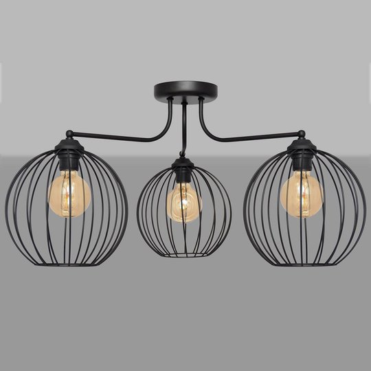 Cumera taklampe med bur-skjermer, 3 lyskilder