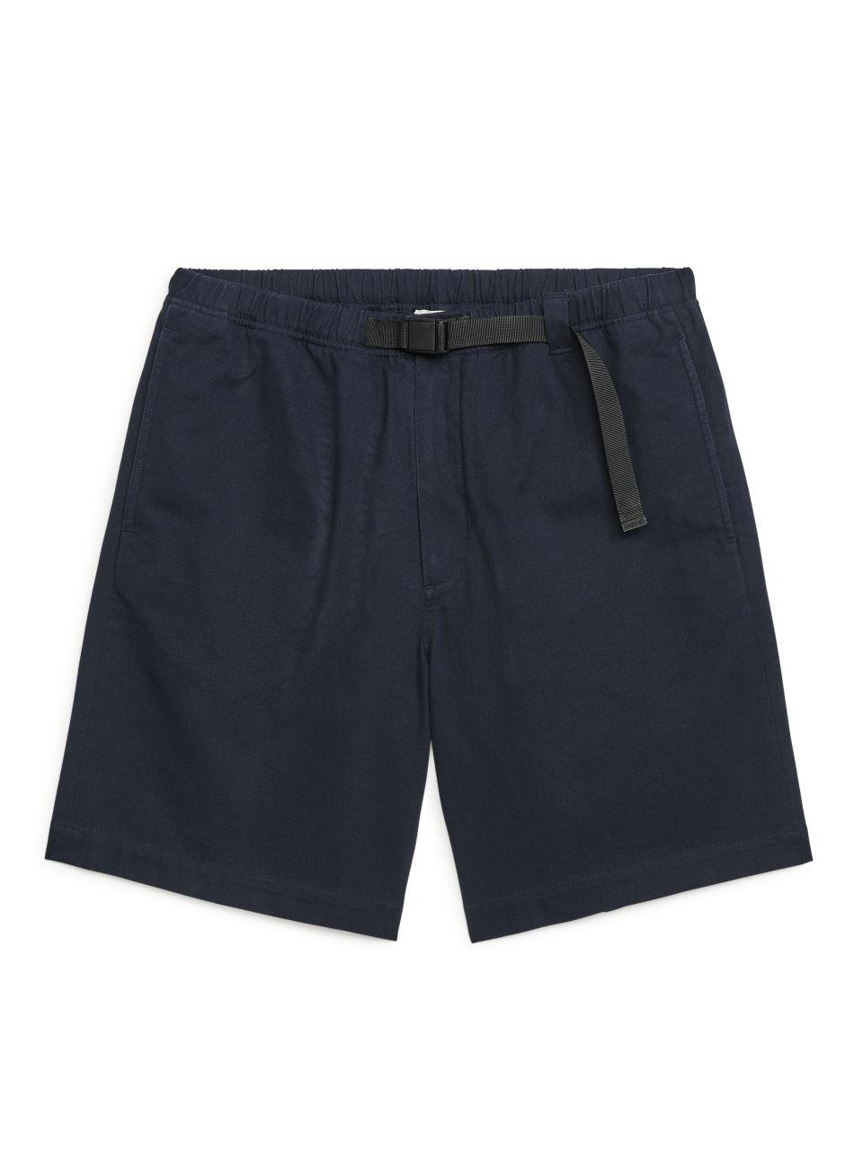 Strap-Detail Cotton Twill Shorts - Blue