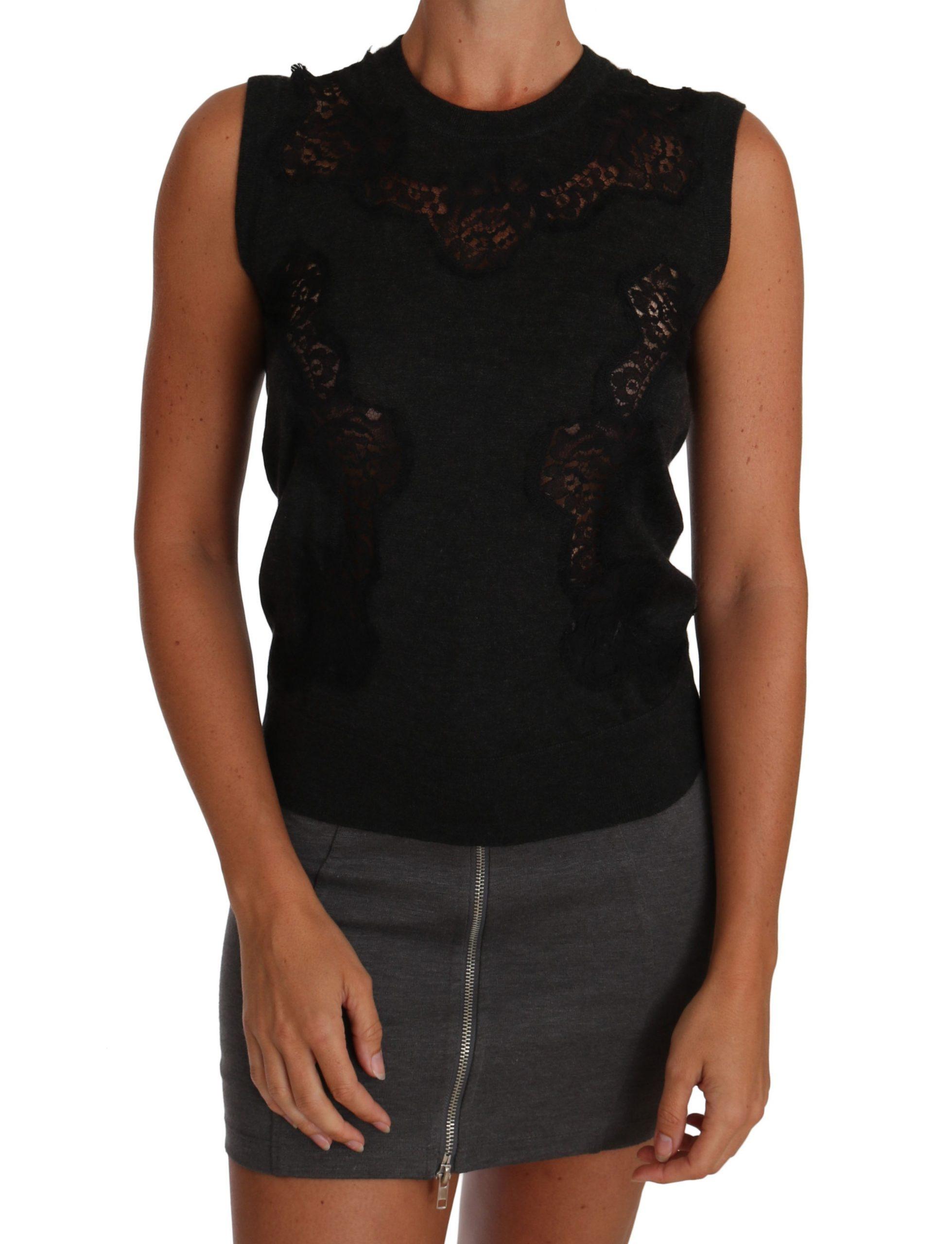 Dolce & Gabbana Women's Silk Cutout Tops Gray TSH2385 - IT40 S