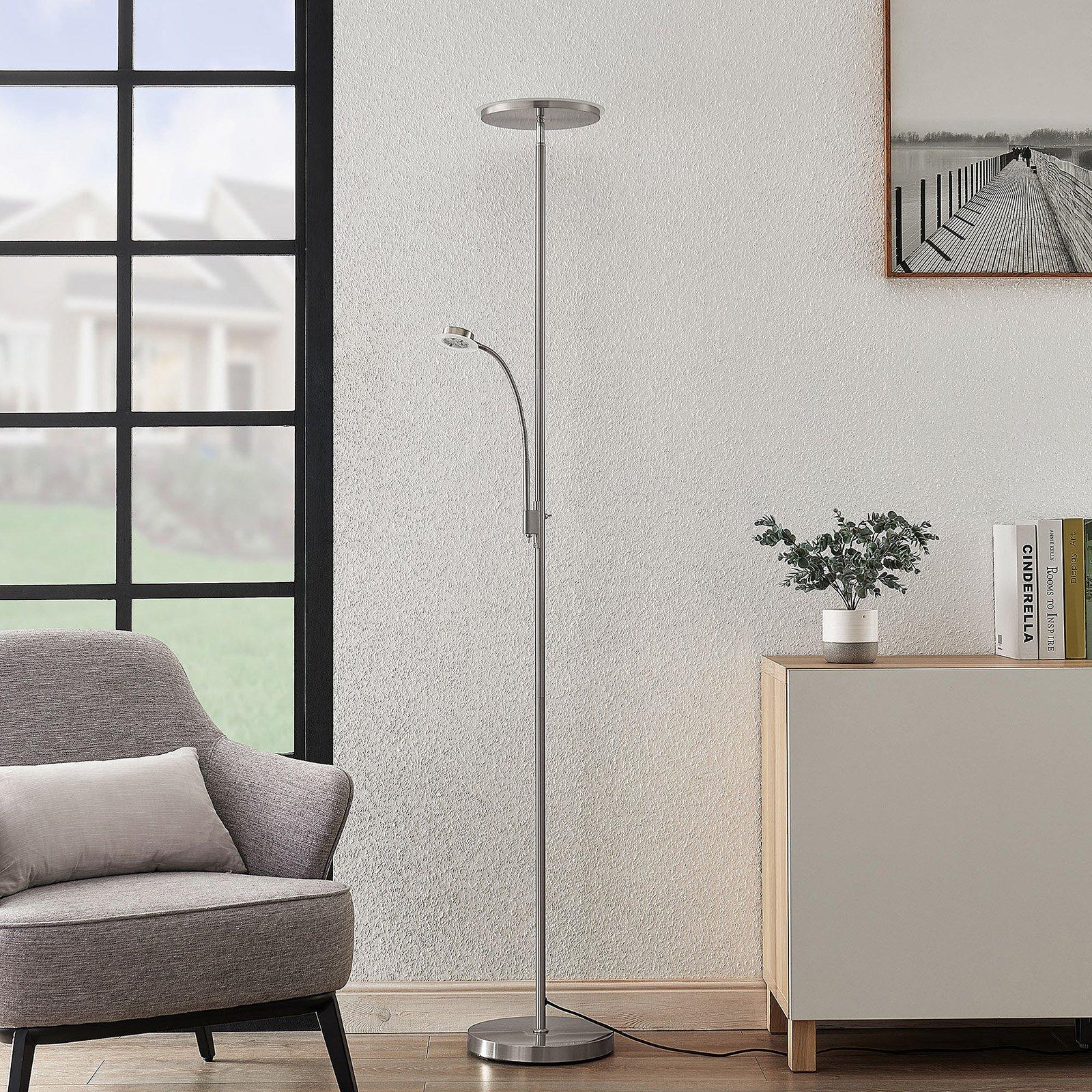 Lindby Kavi LED-gulvlampe med leselys, rund