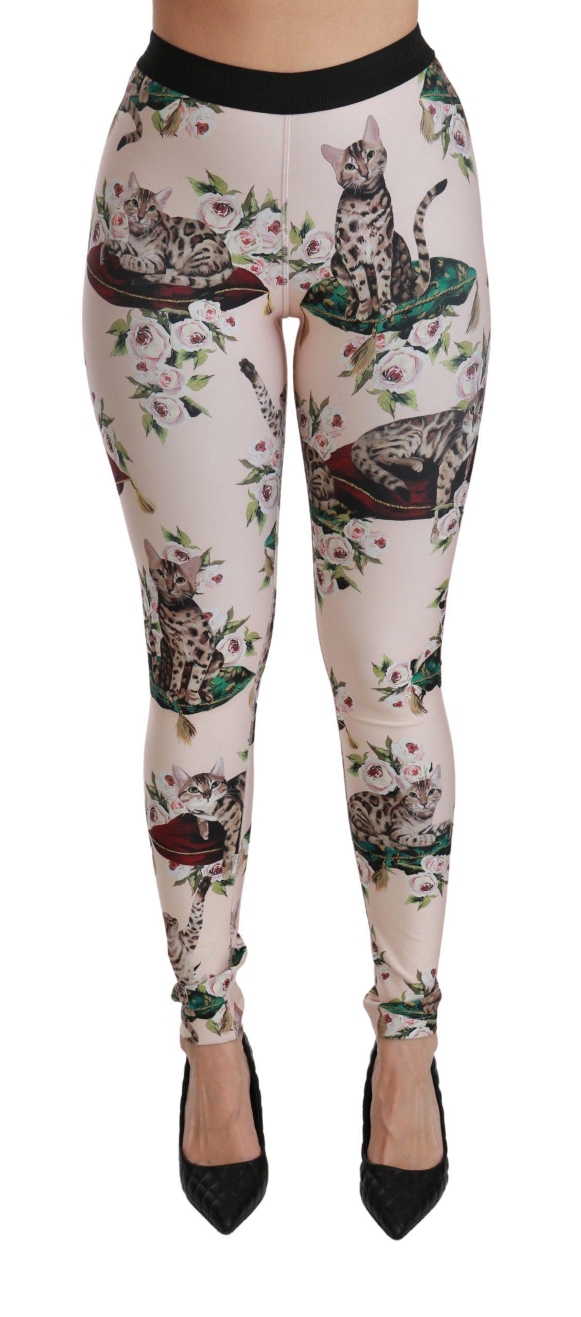 Dolce & Gabbana Women's Floral Bengal Cat Leggings Trouser Multicolor PAN70812 - IT36 | XS