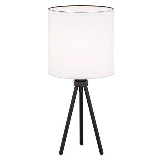 Tekstil-bordlampe Harris, trebein, svart/hvit