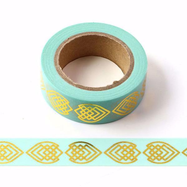 Blue Gold Foil Fish Washi Tape