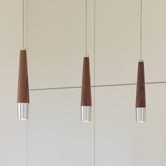 LED-riippuvalaisin Conico, pähkinäpuinen elementti