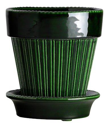 Simona Potte med fat Glazed Green Emerald 18 cm