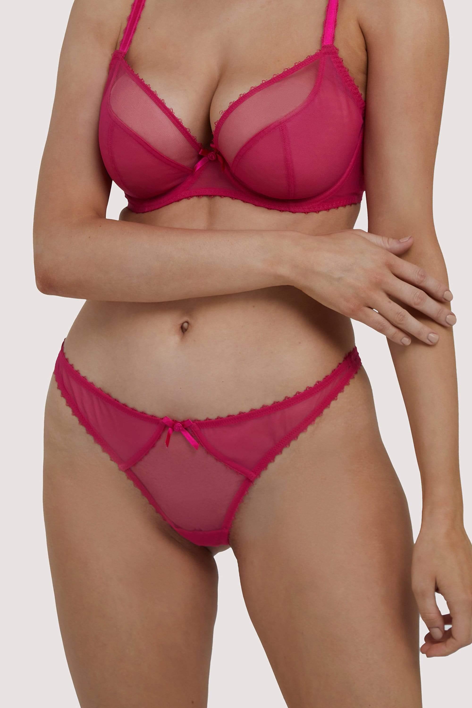 Deja Day Grace Hot Pink Mesh Thong UK 10 / US 6