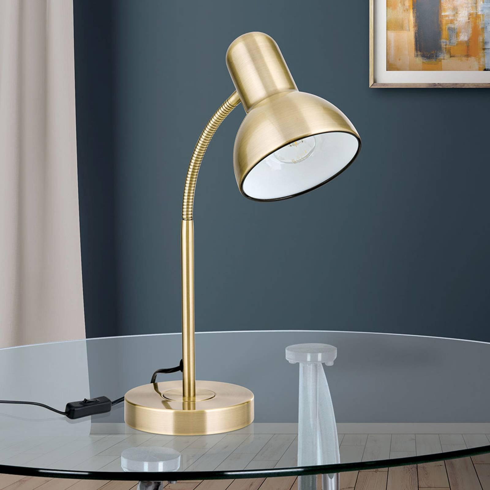 Työpöytälamppu Nemo, joustava, antiikkimessinki