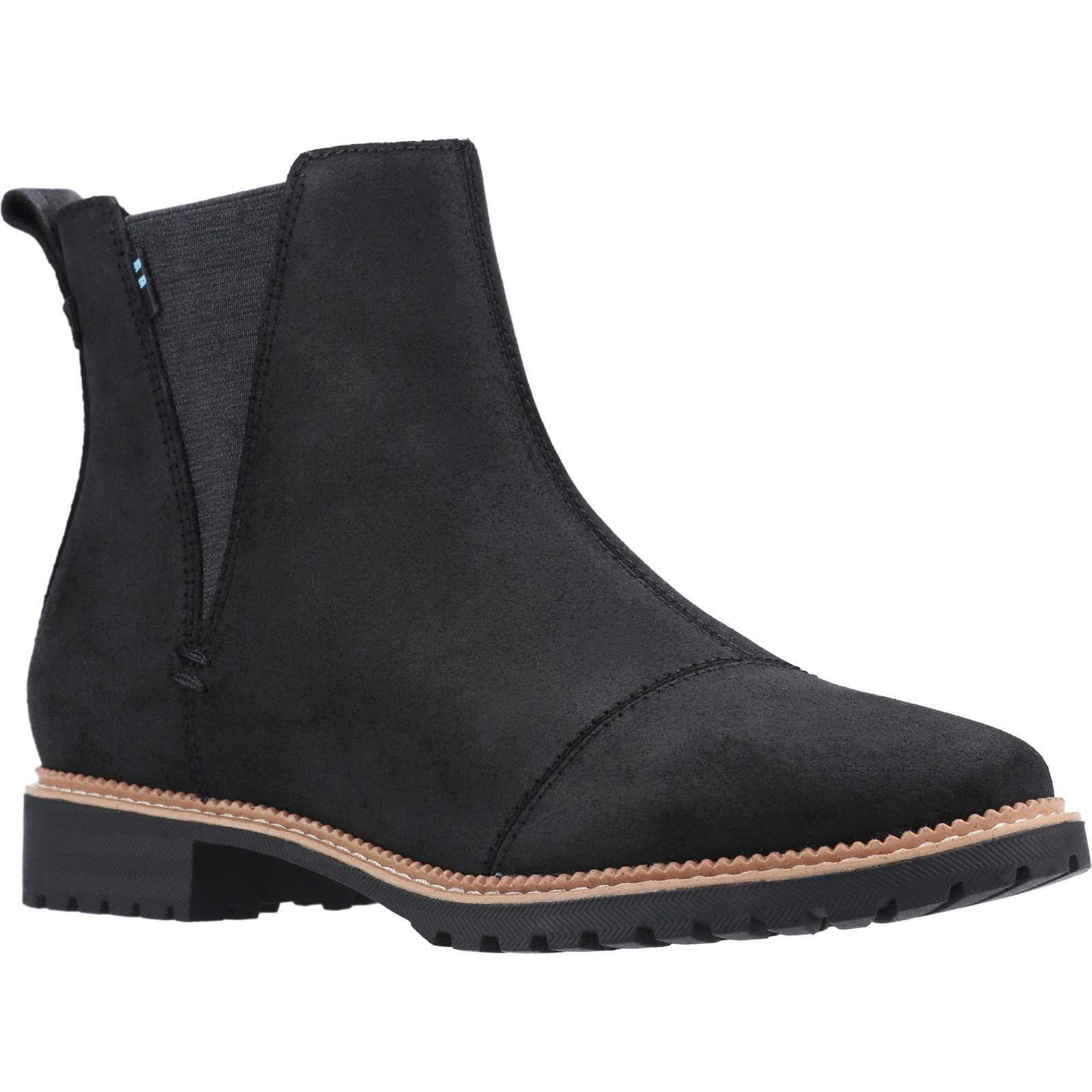 TOMS Women's Cleo Boot Multicolor 31596 - Water Resistant Black Leather 6