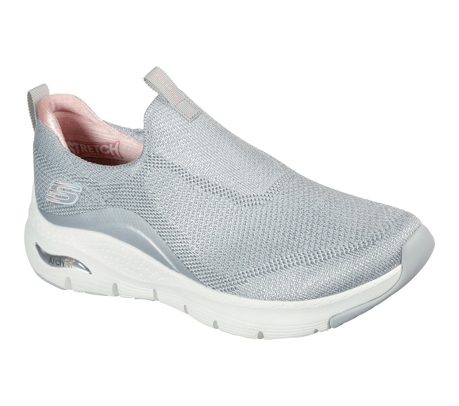 Skechers Women's Arch Fit Keep It Up Sport Trainer Various Colours 32108 - Light Grey/Pink 3