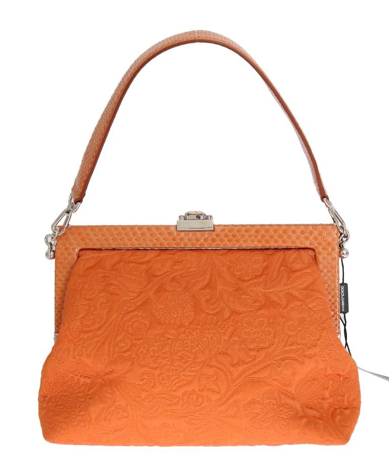 Dolce & Gabbana Women's VANDA Snakeskin Brocade Handbag Orange VAS1039