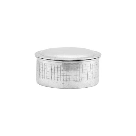 Förvaringslåda med lock Noova Silver h:8 cm