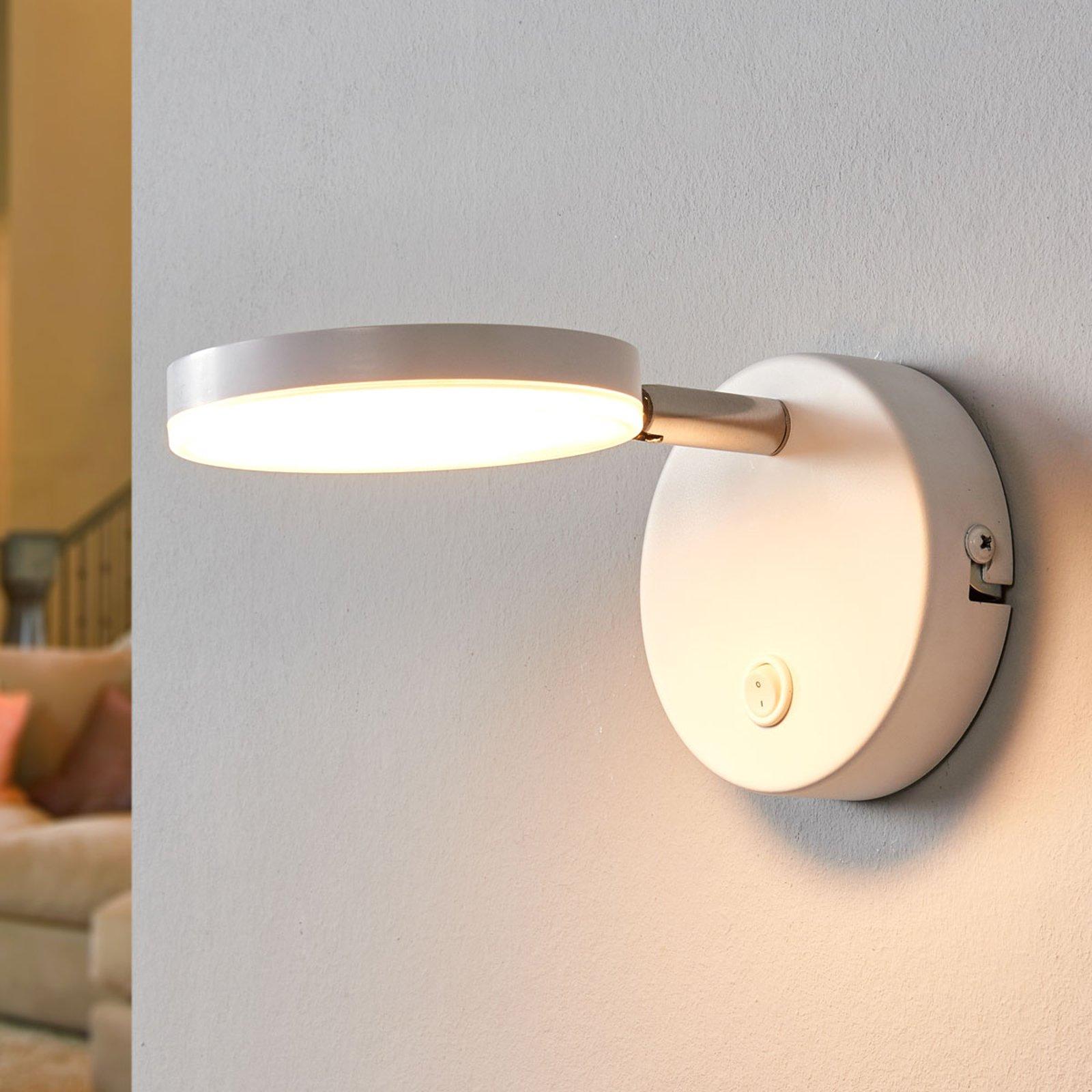 Milow hvit LED-vegglampe med bryter
