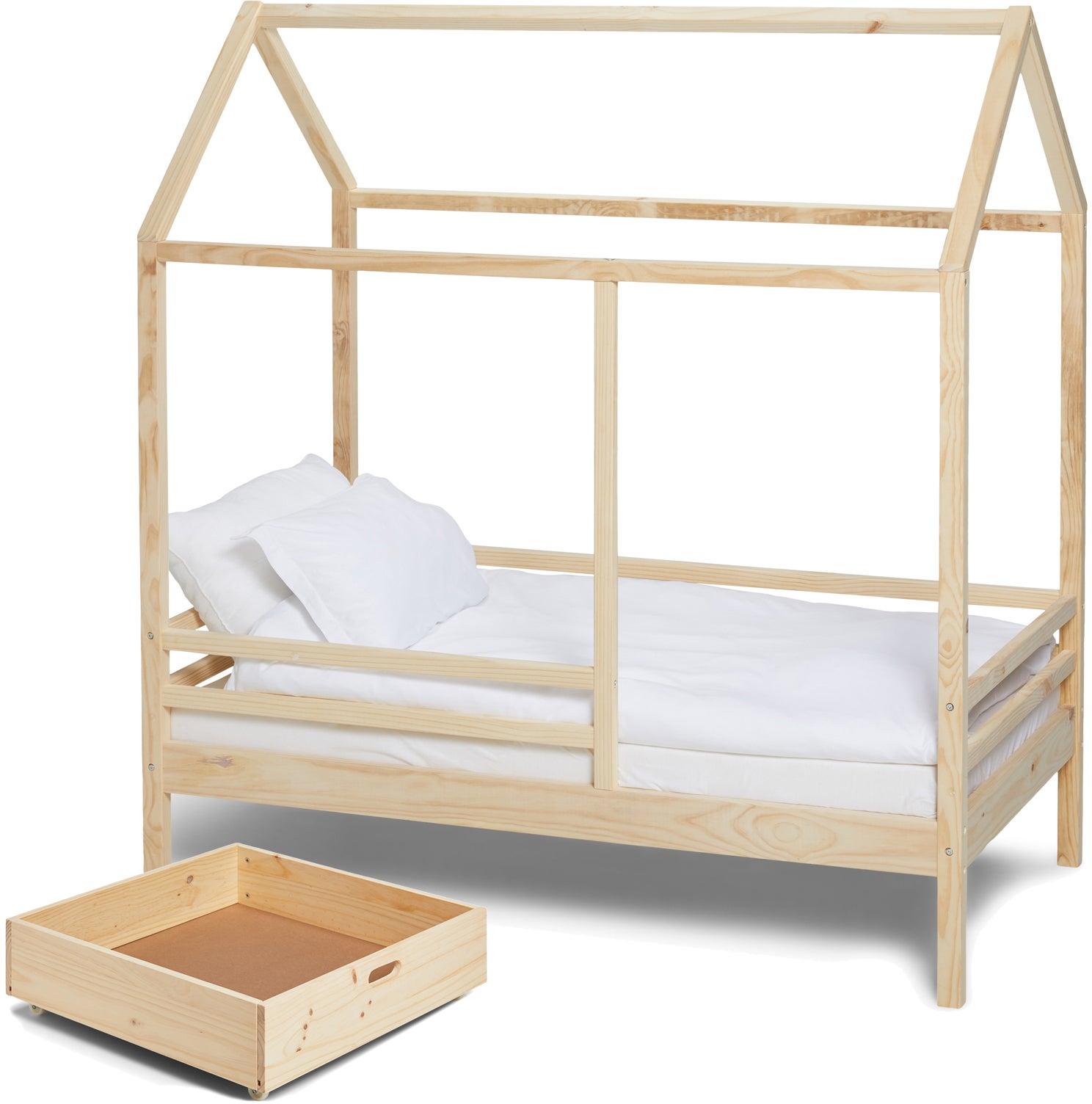 Minitude Nordic Jax Talosänky 70x140 + Patja Softi + Sängynaluslaatikko, Natural