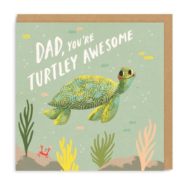 Dad Turtley Square Greeting Card