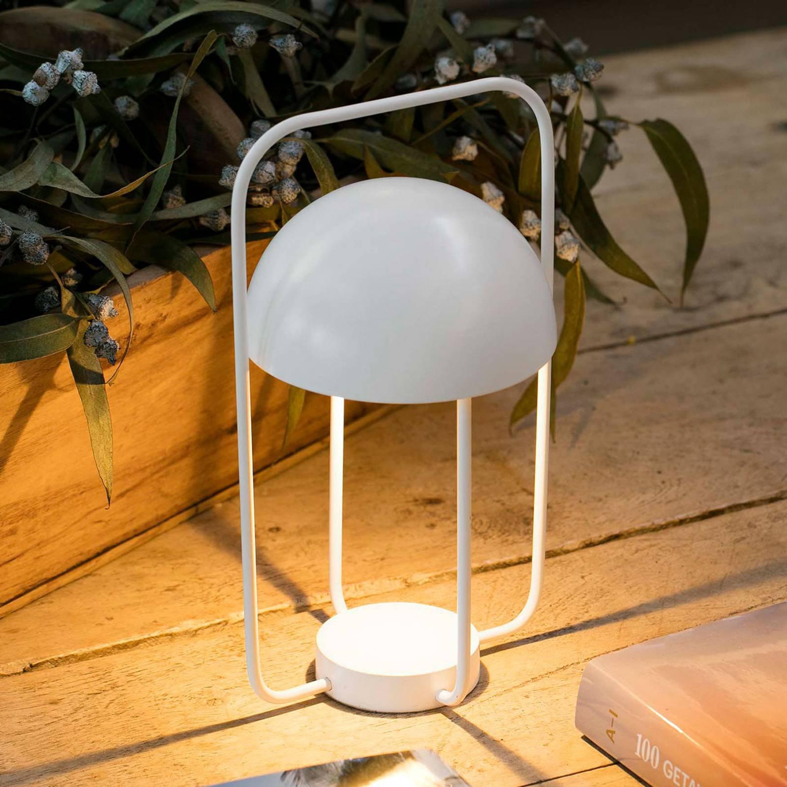 Bordlampe Jellyfisk, bærbar, med batteri, hvit