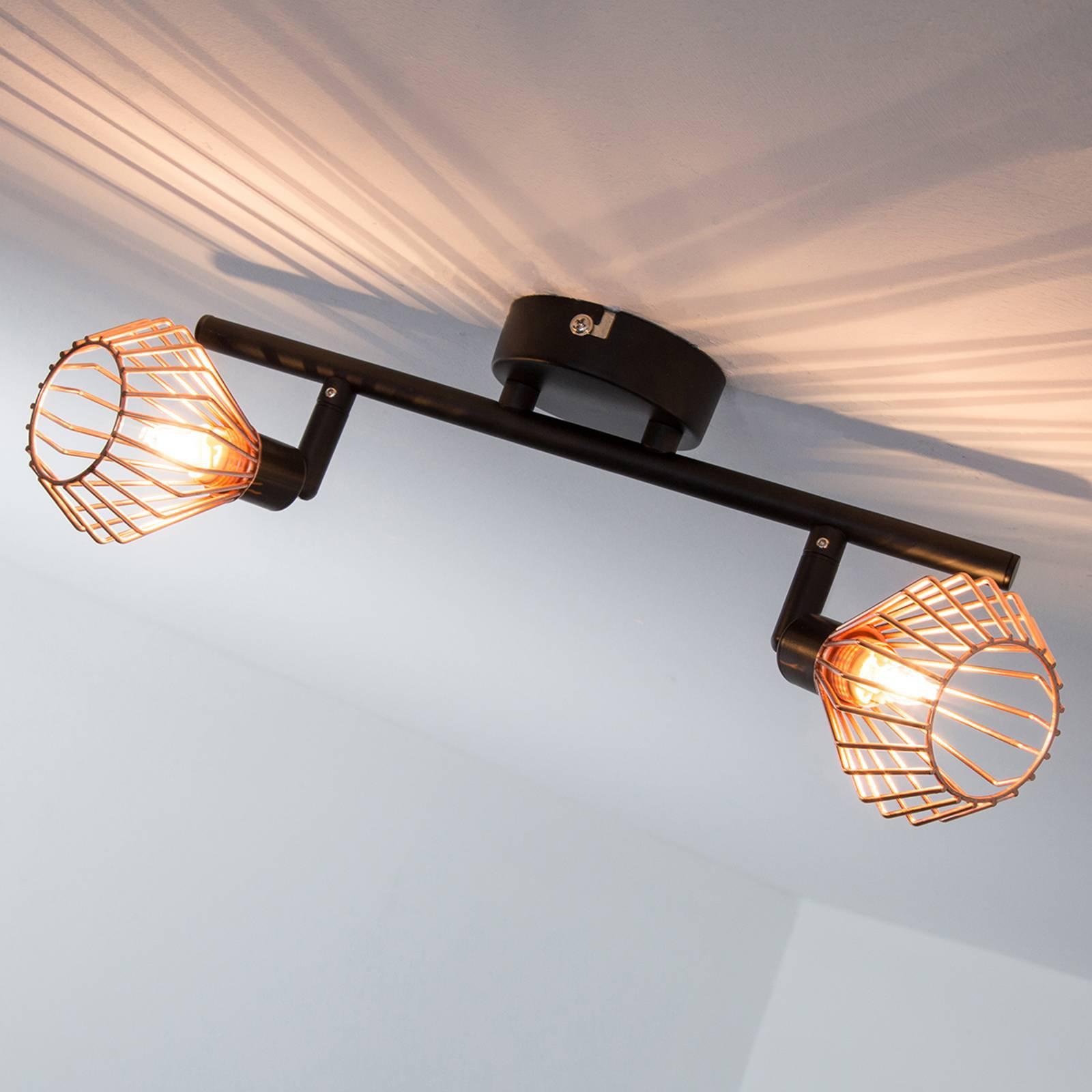 Kobber-svart taklampe Dalma - 2 lyskilder