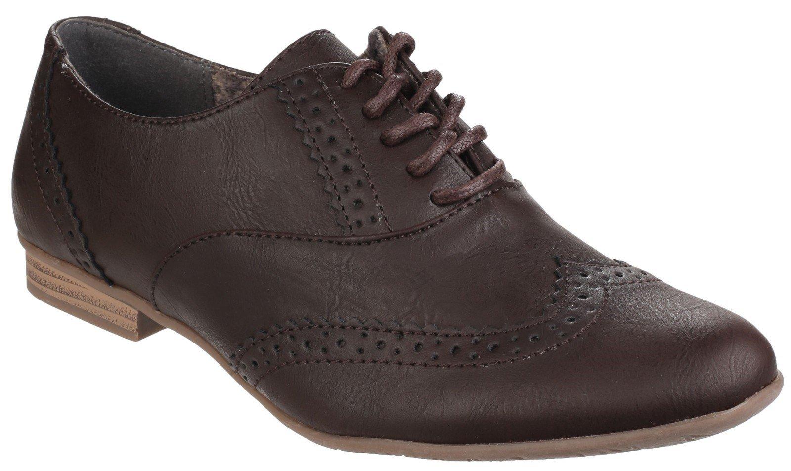 Divaz Women's Levato Lace Up Brogue Shoe Black 24275-40030 - Brown 3