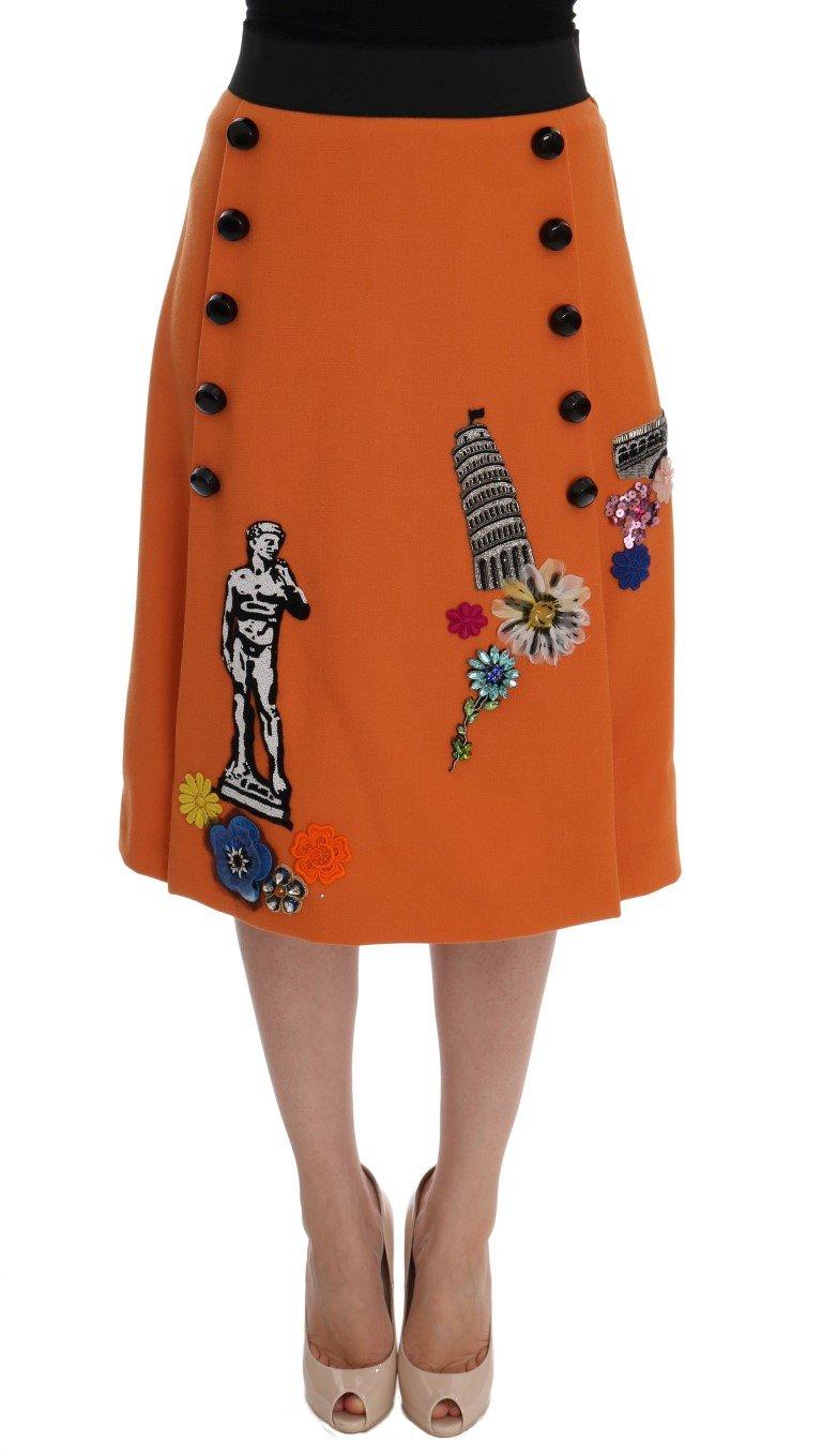 Dolce & Gabbana Women's Wool Crystal Sequin Appliques Skirt Orange SKI1009 - IT44|L