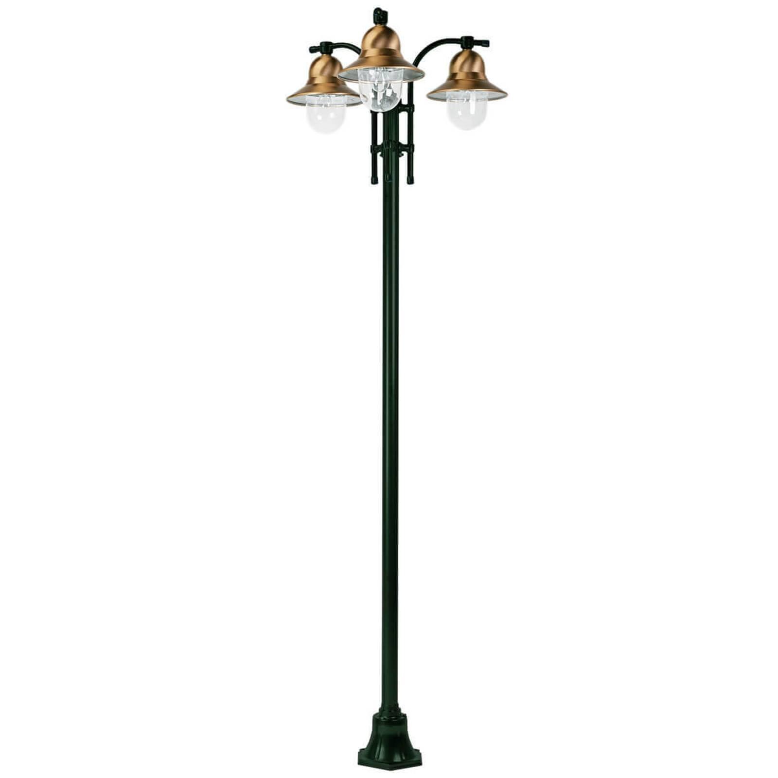 3-lamppuinen Toscane-lyhtypylväs, vihreä