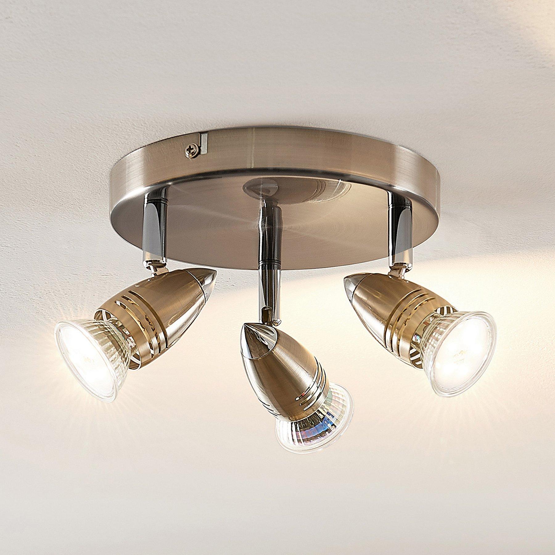 ELC Kalean LED-takspot, nikkel, 3 lyskilder