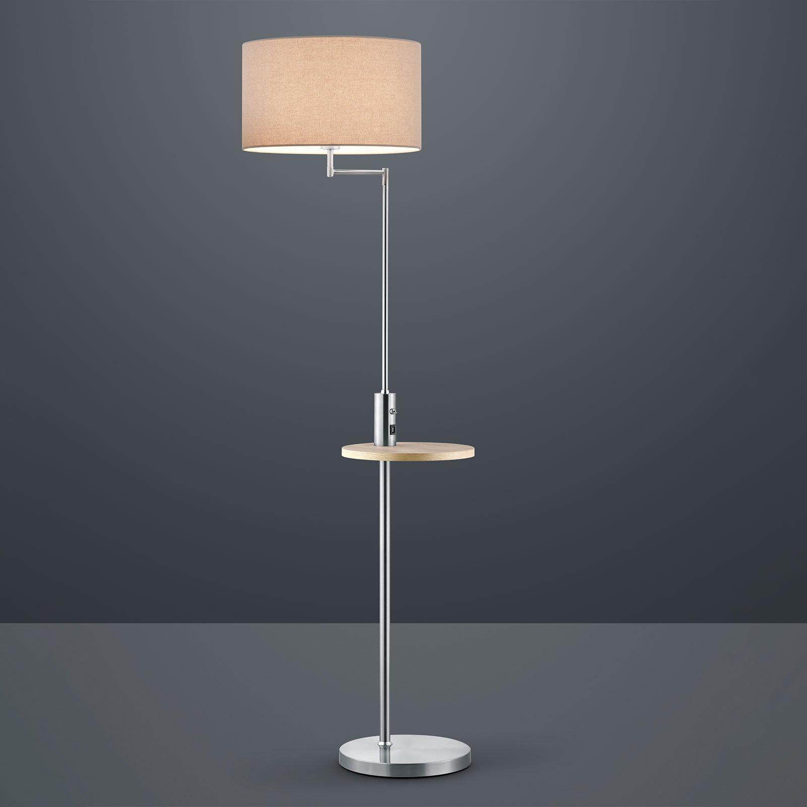 Gulvlampe Claas, hylle, USB-port, nikkel