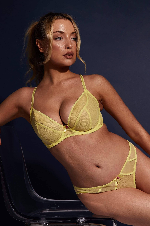 Deja Day Grace Lemon Yellow Plunge Bra 38DD