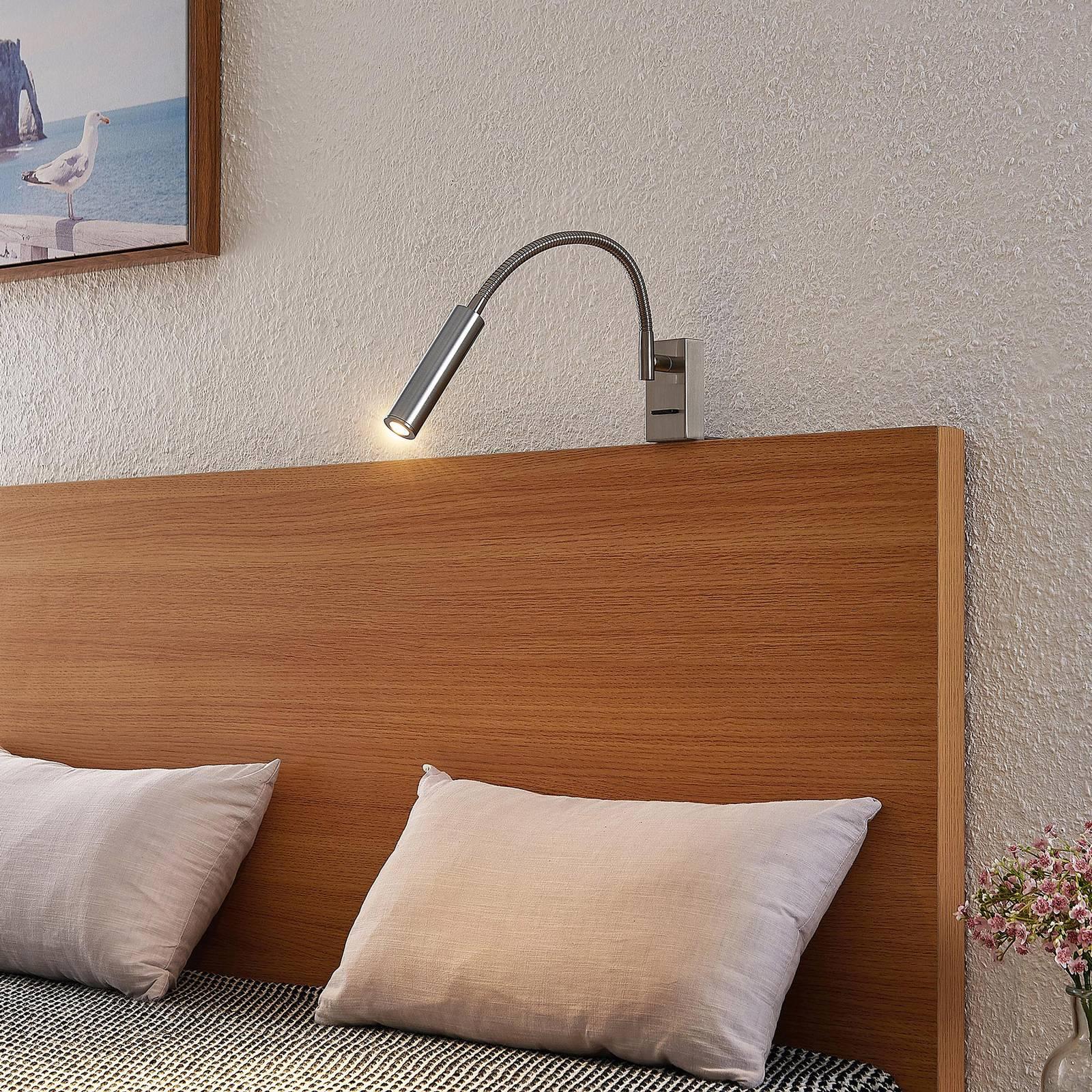 Lucande Anaella -LED-seinävalaisin nikkeliä, 55 cm