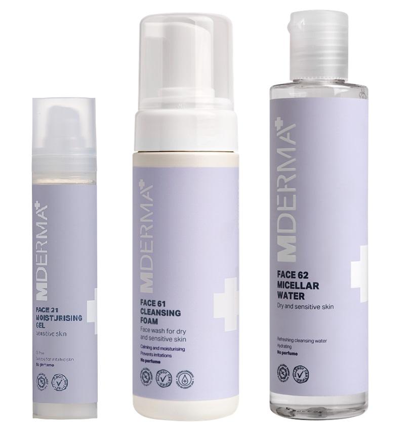 MDerma - FACE21 Moisturising Gel 50 ml + FACE61 Cleansing Foam 150 ml + FACE62 Micellar Water 200 ml