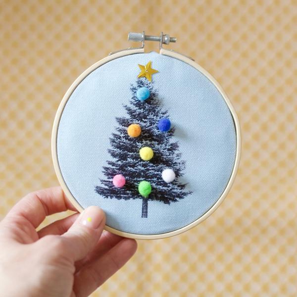 Christmas Tree Blue Embroidery Hoop Kit