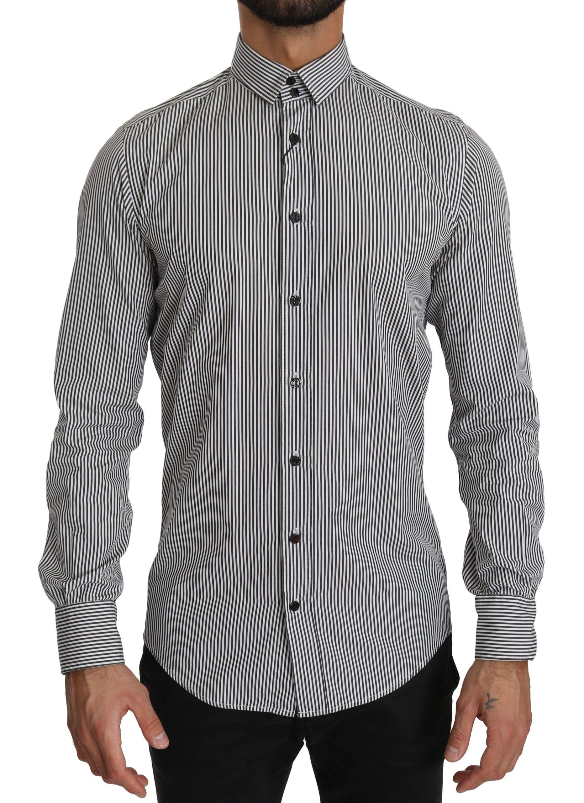 Dolce & Gabbana Men's Stripes Formal Shirt Black TSH4024 - IT39   S
