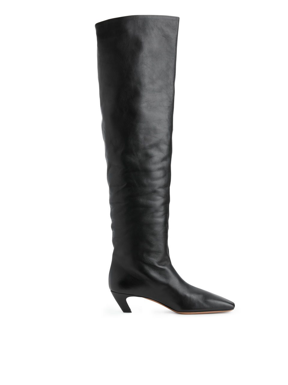 Over-The-Knee Leather Boots - Black