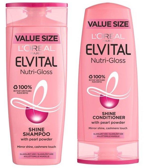 L'Oréal - Elvital Nutri Gloss Shampoo 500 ml + Conditioner 400 ml