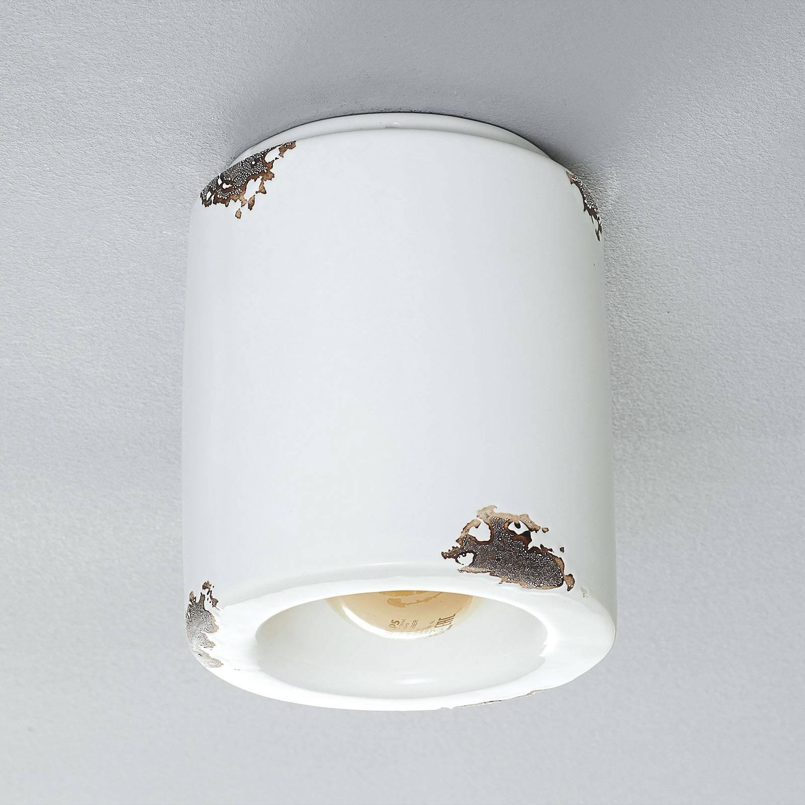 Taklampe C986 i vintage-stil, hvit