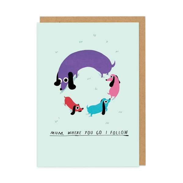 Mum Dog Circle Greeting Card