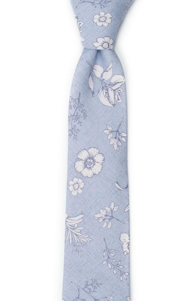Bomull Smale Slips, Pudderblå base med hvitt blomstermønster, Blå, Blomster