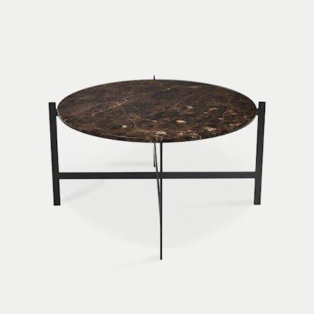 Deck table large - brun marmor / svartlakkert stamme