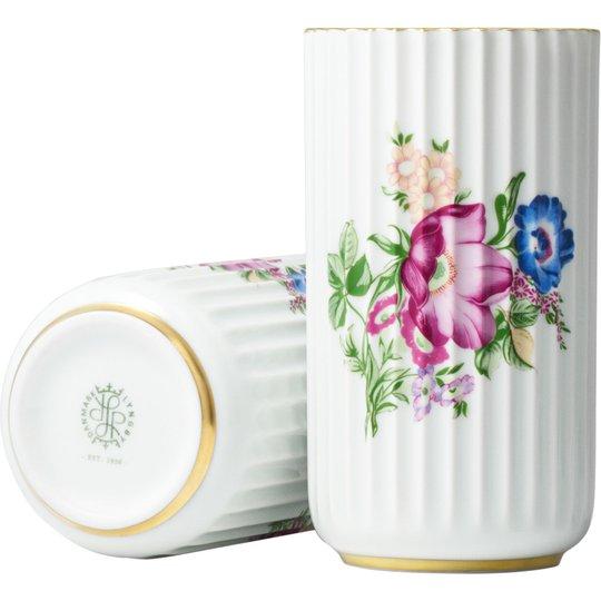 Lyngby Porcelæn Vas 15 cm med Blomsterdekoration