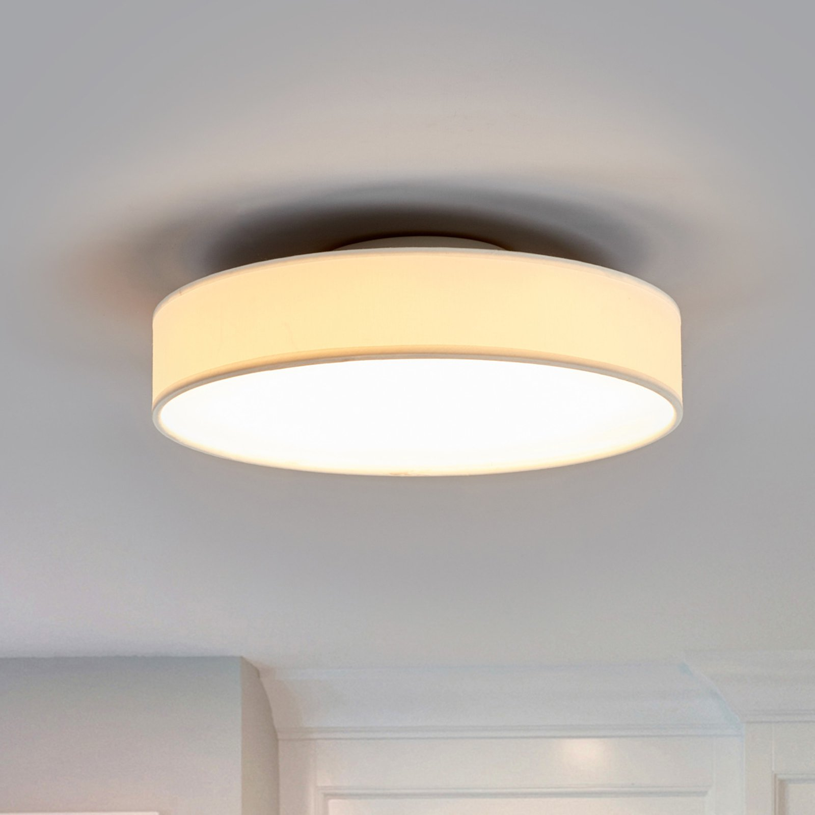 LED-stoff-taklampe Saira, 30 cm, hvit