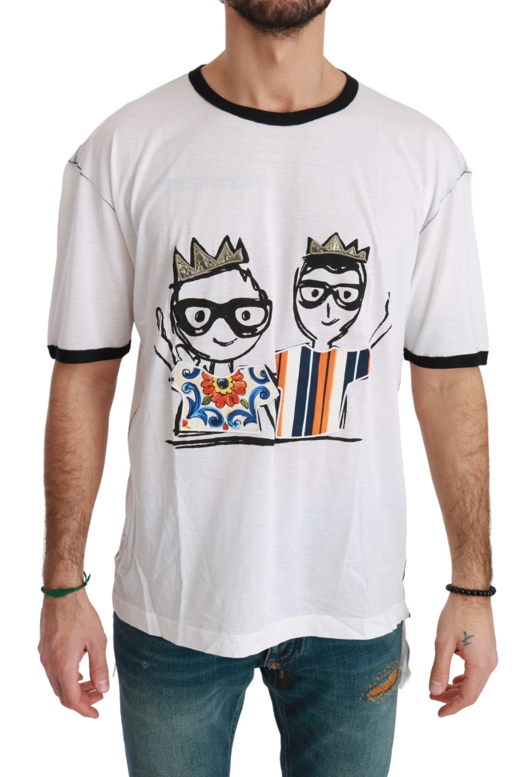 Dolce & Gabbana Men's Print Cotton T-Shirt White TSH4511 - IT44 | XS