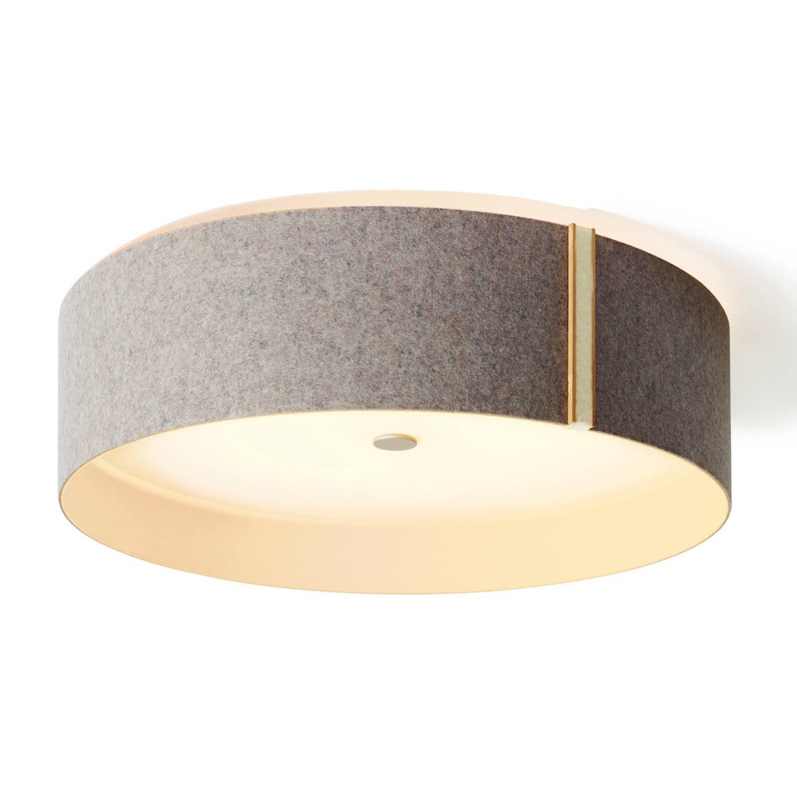 Taklampe Lara felt i filt med LED, grå, helhvit